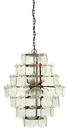 Hanging lamp, clear glass coins