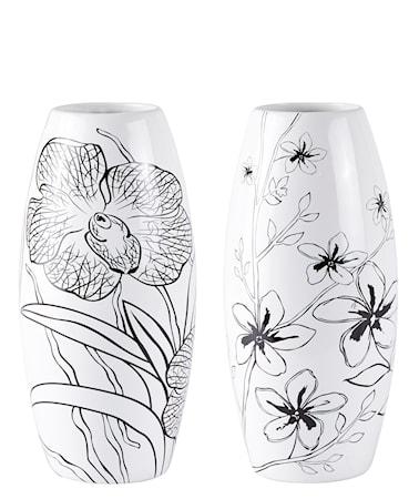 Bilde av KJ Collection Vase Keramikk Hvit/Svart 25 cm