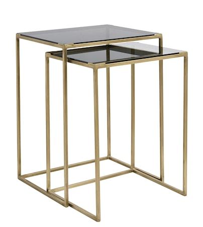 Soffbord kvadratiskt 2st - Svart/Mässing