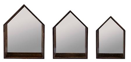 KJ Collection Bogkasse - 3 stk. - Træ - Spejl - Brun - H 47,0cm - L 35,0cm - B 12,0cm - Sæt thumbnail
