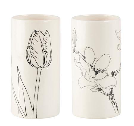 Bilde av KJ Collection Vase med trykk Creme 20 cm