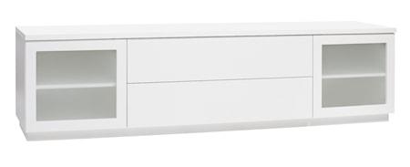 Hiipakka Sonaatti tv-bänk - 200 cm - frostat glas - vit/vit