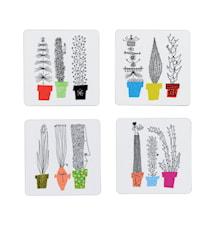 Italiensk Blomsterhylla Glasunderlägg 4-pack