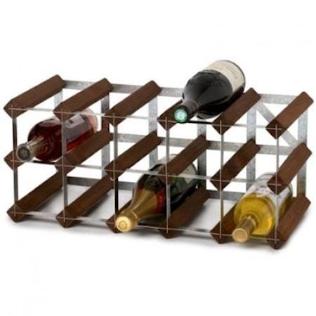 15 Flaskors Påbyggnadsbart Vinställ Mörk Ek