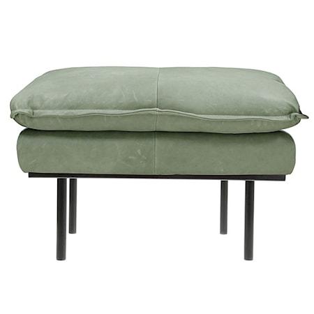 Retro Soffa Läder Hocker Mint Grön