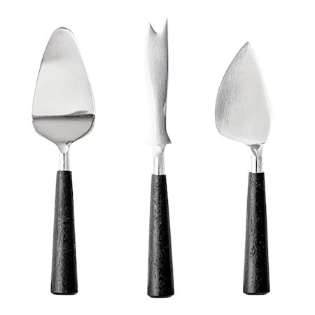 Ostknivset 3 delar Rostfritt stål Svart
