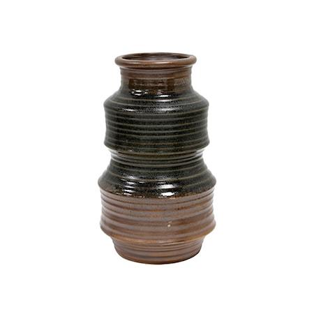 Retro Blomvas Keramik Brun 20cm