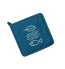 Grytlapp text och tecknad fisk blå/vit