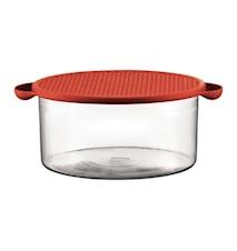 Hot Pot Skål med Silikonlock 2,5 liter Röd