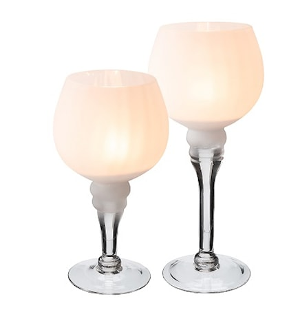 Ljuslykta glas vit frostad 2 pack höjd 20 cm 25 cm