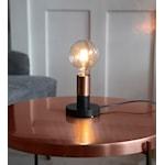 821023 Lampfot DUO svart med mässingsfärgad lamphållare E27