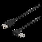 824183 Deltaco USB-kabel 2.0 vinklad typ A hane, typ A hona 0,3m svart