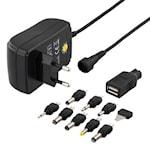 824049 DELTACO nätadapter 110-230V till 3-12V DC, 1,5A, utbytbara kontakter, USB, svart