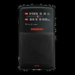 824339 Sangean FM/AM handhållen radio, inbyggd högtalare, batteri, hörlursuttag, svart