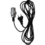 824818 Sladdställ 3,5m metall zink ringar med svart tygkabel E14
