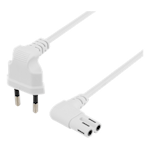 824325 Deltaco ojordad apparatkabel EU-kontakt vinklad 1m