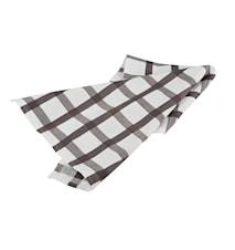 Handduk rutig vit/grå