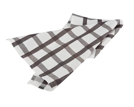 Bastian textilier Handduk rutig vit/grå
