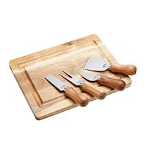 Ostbricka med knivar set Akacia