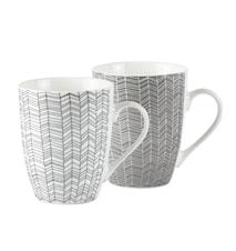 Krus - Zentangle - 2 typer usorteret - Porcelæn - Hvid - Grå - Mønstret - D 8,5cm - H 10,5cm - 0,30l - Stk.