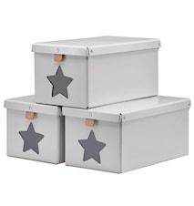 Skolådor grå 3-pack