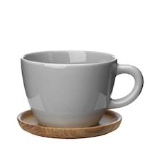 Höganäs Keramik temugg + träfat 50 cl kiselgrå blank