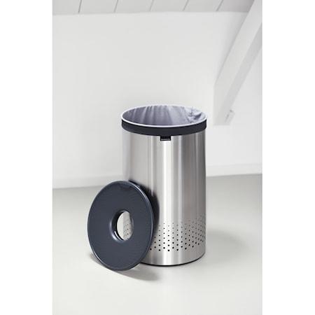 Brabantia Tvättkorg med mörkgrått plast lock 60 L Mattborstat Stål thumbnail