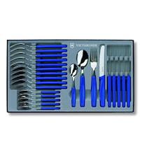 Bordsset 24 delar, blå handtag, rund spets