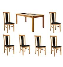 Jasmine Spisegruppe Eik inkl. 6 stoler - Eik