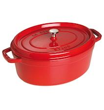 Oval gryta 31 cm röd 5,5 L