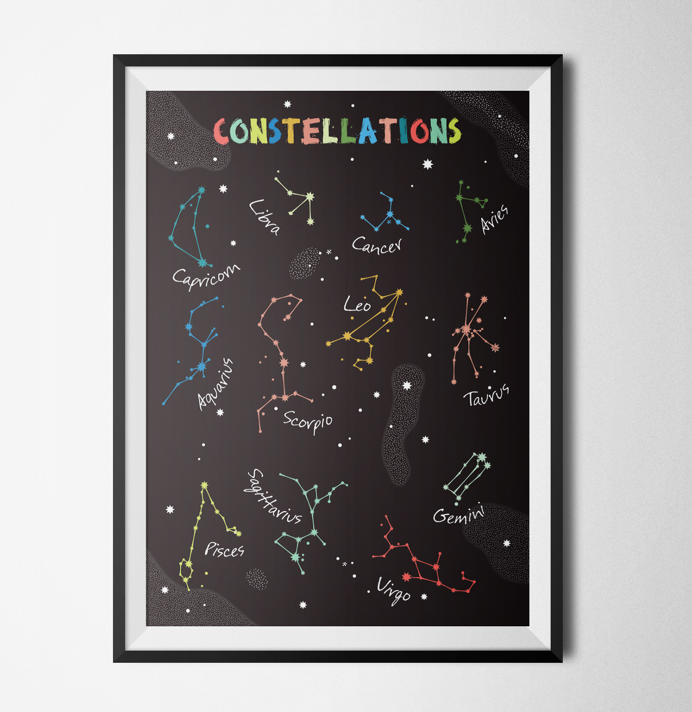 Constellations black poster