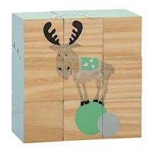 Legeklodser Cirkus Dyr Grøn 15x5x15 cm