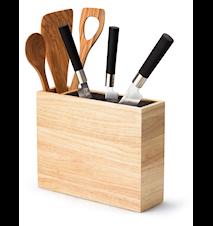 Knivholder af bambus med ekstra redskabskasse