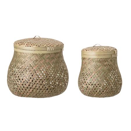Köp Korg med lock 2 st Bamboo 38d46034fb0fb