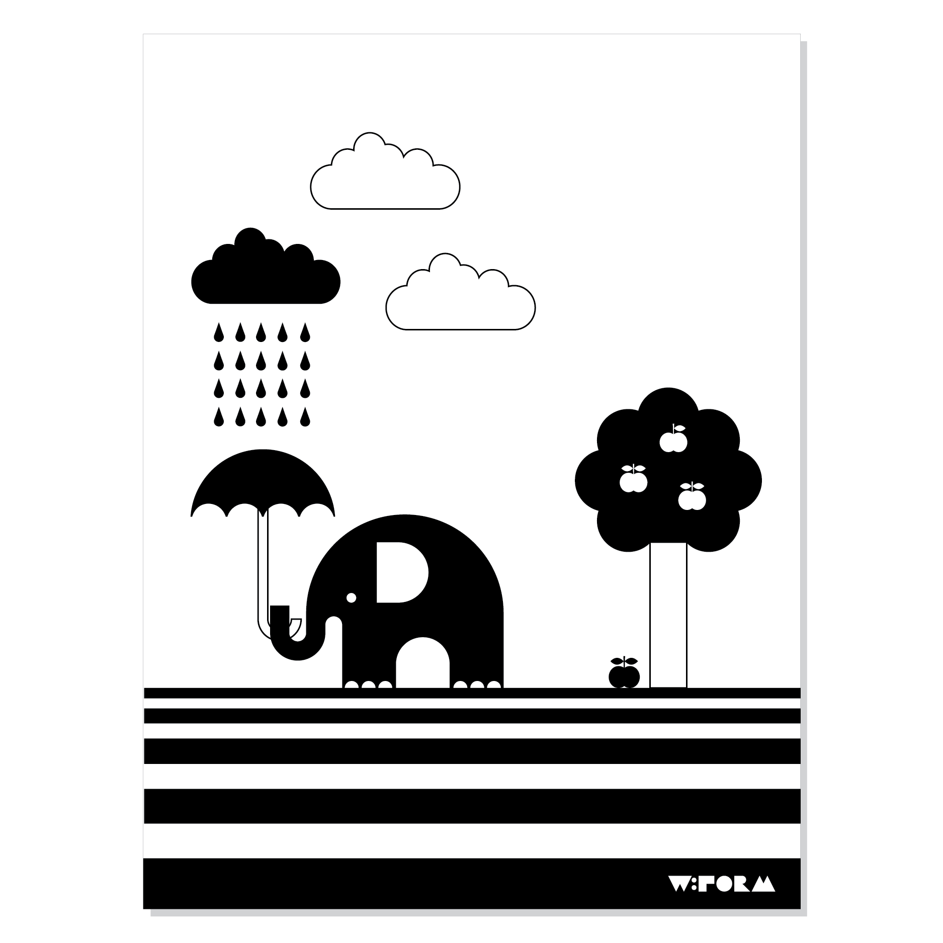 Elephant & apple poster – Svart/vit