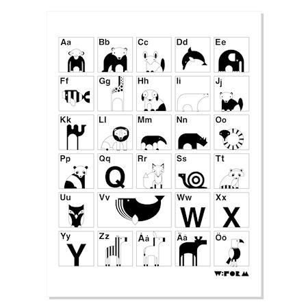 956ef4c5 w:form ABC poster – Svart/vit – Barn - Barninredning - Posters & Tavlor