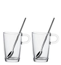 Glas Latte Macchiato + Sked 4 delar