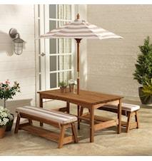Outdoor table & bench trädgårdsgrupp inkl. parasoll och dynor