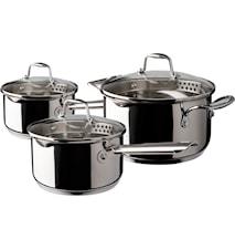 Kasserollesett 3 deler kasserolle 1,5 2,0 gryta 3,0 liter