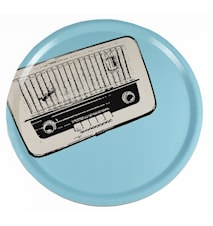 Rund bricka - blå radio