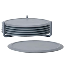 Glasunderlägg med hållare 6 st 10x3,1 cm Silikon/Metall - Cool grey