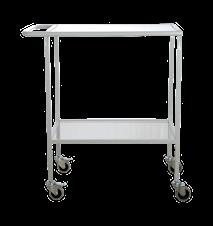 Rullbord med glasskivor Matt Grå 73x45x90 cm