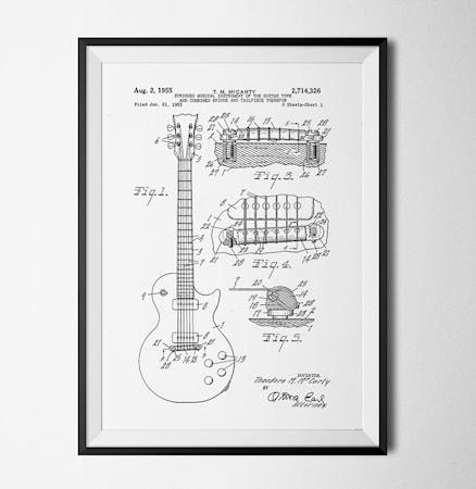 Bild av Konstgaraget Patent guitar vit poster