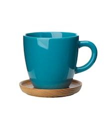 Höganäs Keramik kaffemugg 33 cl med träfat sjögrön blank