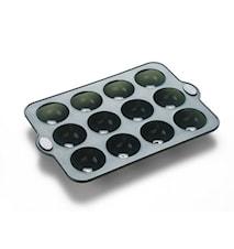 Chokladform 12 hål Grå