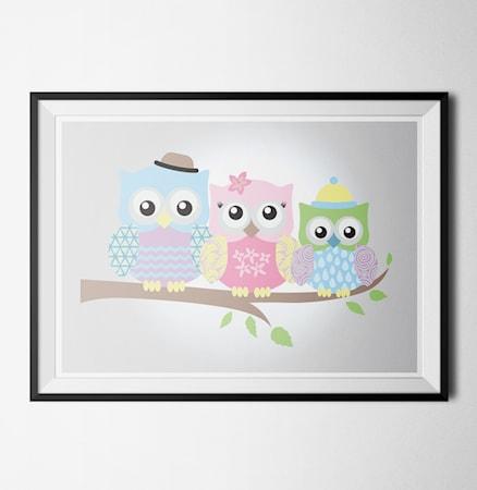 Bild av Konstgaraget Happy owls 1 poster