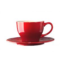 Kaffekopp med fat Cerise