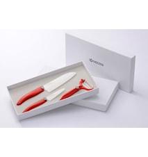 Knivset, 7,5 cm + 14 cm + CP10 skalare, rött handtag, vitt blad