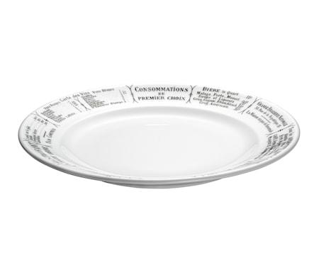 Brasserie tallrik flat vit/svart 24 cm