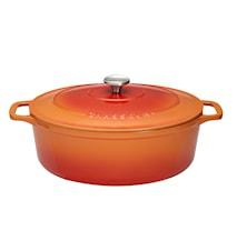 Gryta Oval 4,5 l. 29cm, flame orange (cream insida)